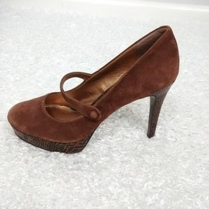 Audrey Brooke Mary Jane Suede Shoes